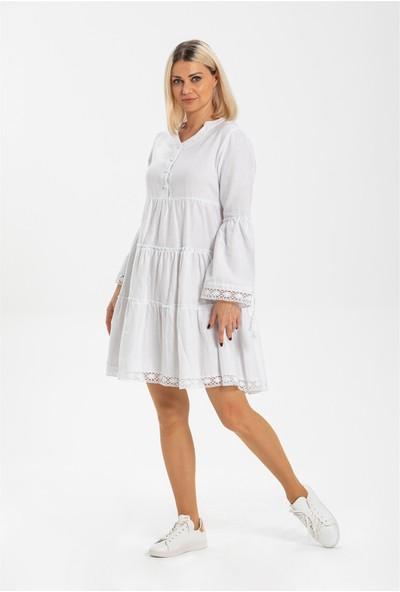 Eliş Şile Bezi Seçil Pazen Kısa Elbise Beyaz