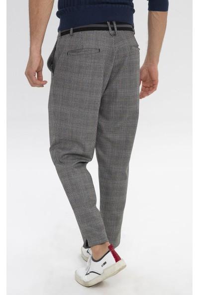 Cekmon Beli Lastikli Kareli Kumaş Pantolon
