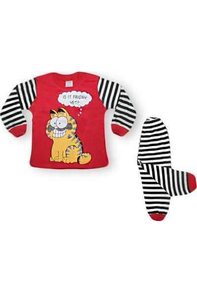 Süper Mini 1365 Sevimli Kedi Baskılı Pijama Takımı 1-3 Yaş