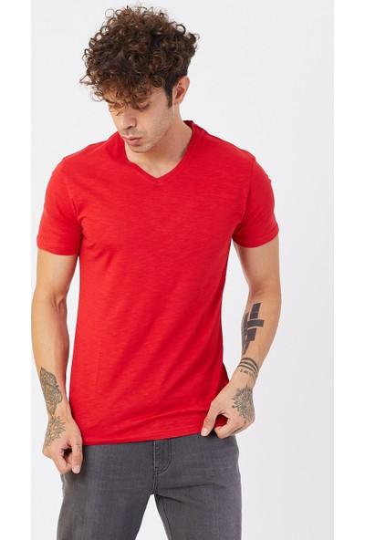 Lenasso V Yaka Tshirt Kırmızı