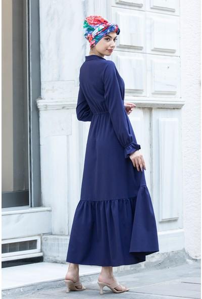Piennar Vera Lacivert Tesettür Elbise