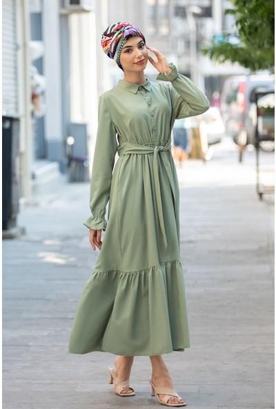 Piennar Vera Yeşil Tesettür Elbise