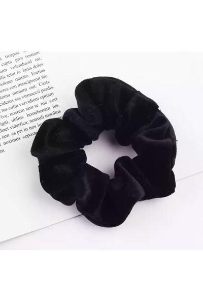 Jaida Moda Adın Kadife Scrunchie Lastikli Toka 3'lü Kombin Set