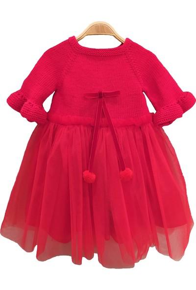 Pacco Baby El Örgüsü Organik Pamuk Kırmızı Tütü Elbise