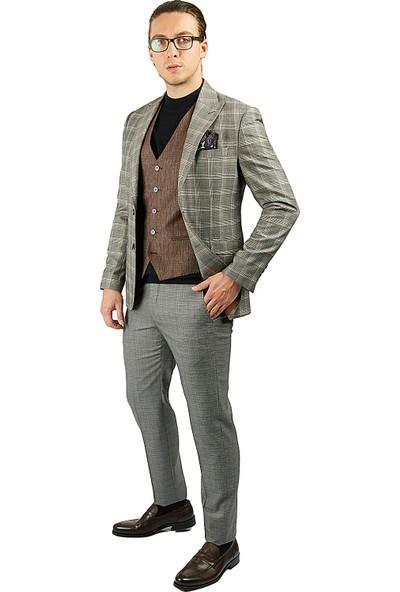 Centone Takım Elbise Ekose Yelekli Comfort Fit 20-0039