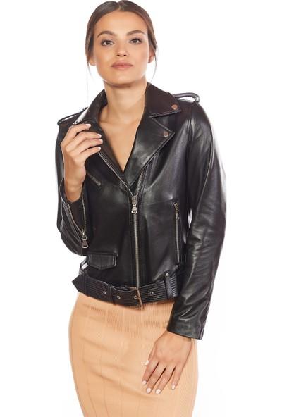 Deriza Kemerli Kadın Motorcu Siyah Deri Ceket