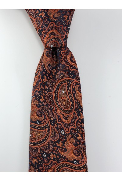 Pierroni Oranj Şal Desen Mendilli Kravat