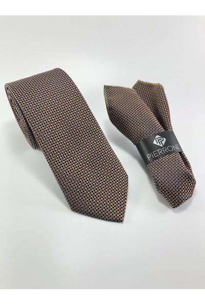 Pierroni Turuncu Beyaz Nokta Desen Mendilli Kravat