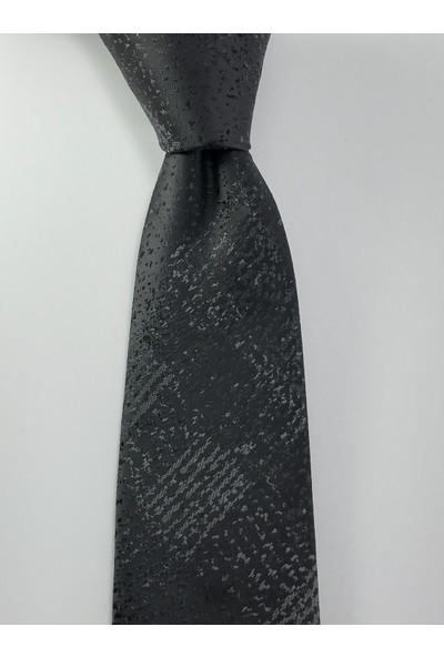 Pierroni Siyah Füme Gölge Desen Mendilli Kravat