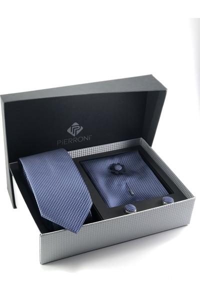 Pierroni Mavi Kravat 4 Lü Özel Hediye Seti