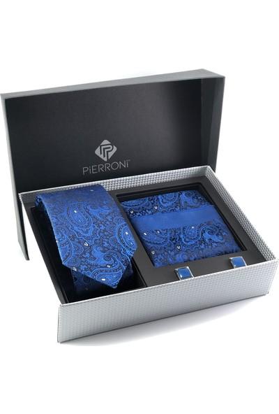 Pierroni Saks Mavi Şal Desen Kol Düğmesi Kombin Hediye Set
