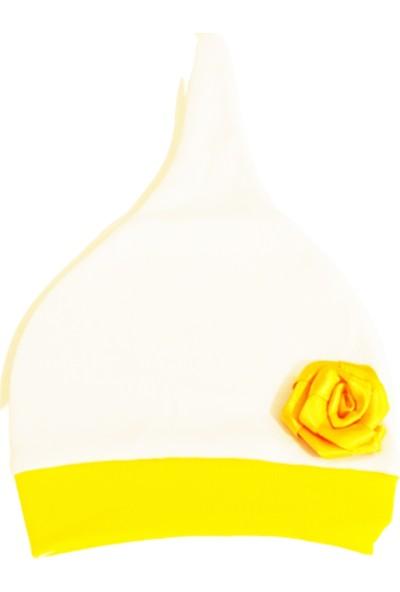 Tomuycuk Bebe Pamuk Penye Sarı Guguletalı Bebek Şapkası