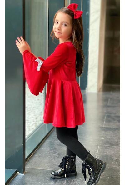 Riccotarz Kız Çocuk Volanlı Kurdale Detaylı Kırmızı Kadife Elbise