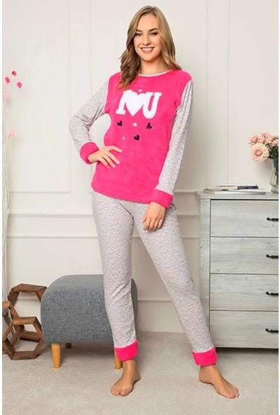 Rinda I Love U Temalı Peluş Kadın Pijama Takımı