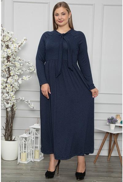 1fazlası Kadın Büyük Beden Kravat Yaka Belden Oturtmalı Lacivert Elbise