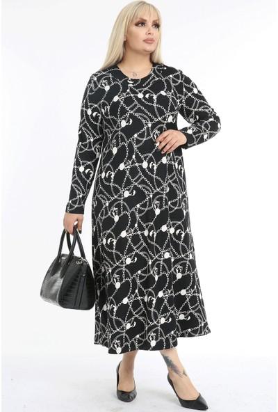 1fazlası Kadın Büyük Beden Zincir Desenli Elbise
