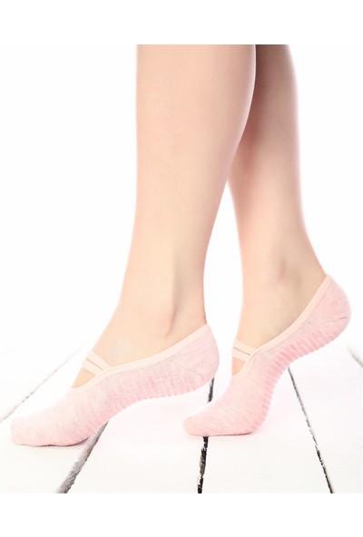 Ebru Şallı Toz Pembe Silikon Tabanlı Pilates / Yoga Çorabı