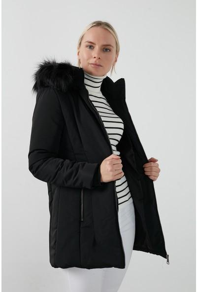 Lela Yakası Suni Tüylü Çıkarılabilir Kapüşonlu Kaban Kadın Kaban 497DEFNE21 Siyah XL