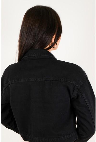 Busenin Butik Yüksek Bel Siyah Kot Ceket