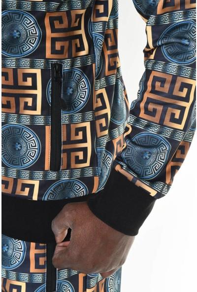 David&Gerenzo Desenli Siyah Kapüşonlu Eşofman Takımı