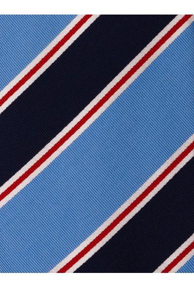 1001 Kravat Lacivert ve Kırmızı Çizgili Mavi Ipek Kravat