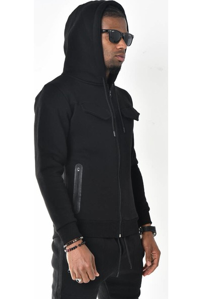 David&Gerenzo Siyah Fermuar Cep Detaylı Kapüşonlu Üç Iplik Sweatshirt