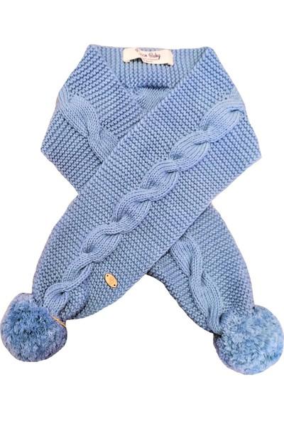 Pacco Baby El Örgüsü Pamuk Karolina Mavi Burgu Bebek Atkısı