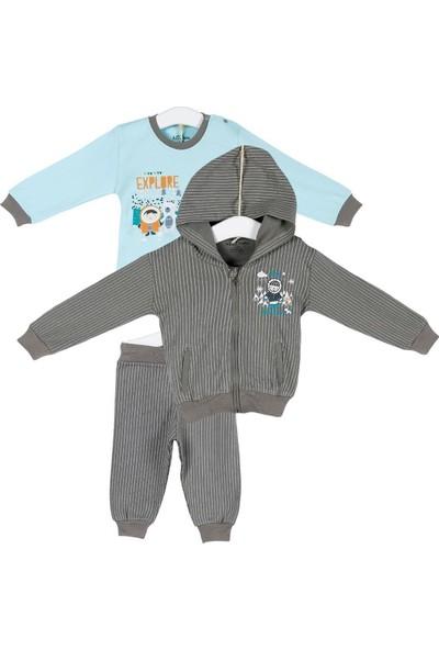 Aziz Bebe Erkek Bebek Hırka Sweatshirt Pantolon 3lü Takım