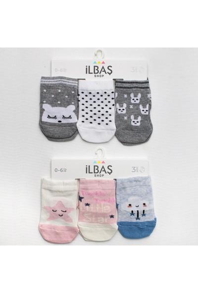 Ilbaş 6'lı Pamuklu Karışık Desen Kız Bebek Çorap Yıldızlı