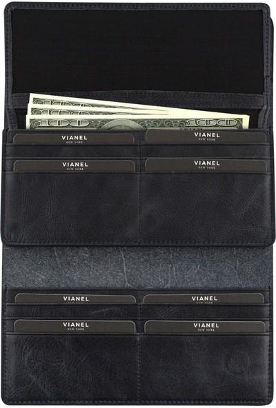Vianel New York Deri Uzun Kadın Cüzdan Telefon Bölmeli