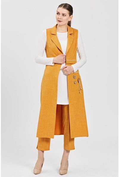 Esswaap Sarı Kendinden Desenli Kumaşa Yelek Tunik Pantolon Takım