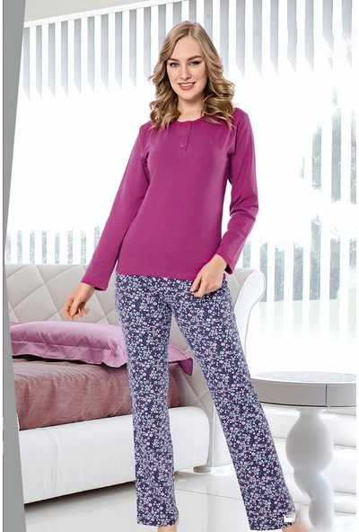 Akare 415 Pamuklu Likralı Memsimlik Kadın Pijama Takımı Ev Pijaması