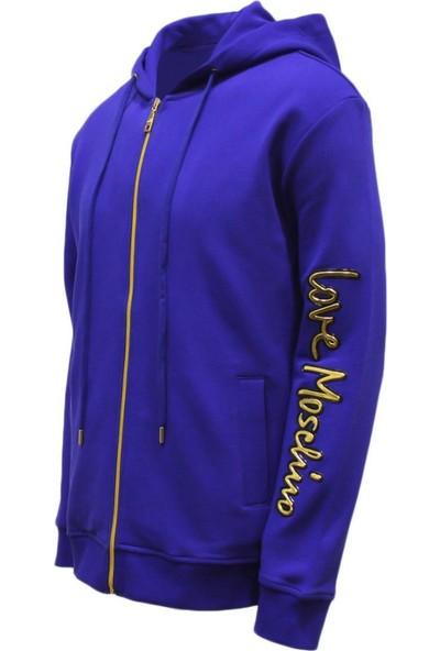 Love Moschino Erkek Kapüşonlu Fermuarlı Sweatshirt