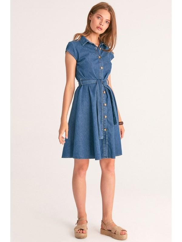 FullaModa Kadın Kuşaklı Kot Elbise