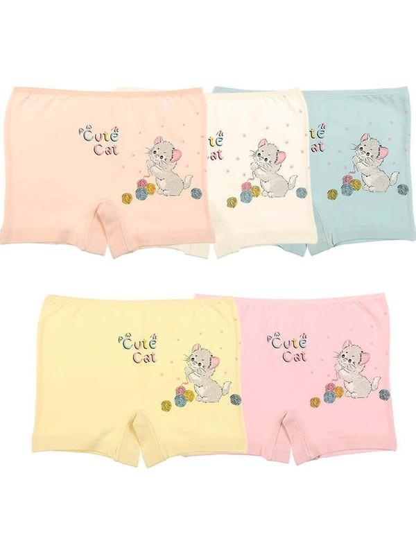 Donella 5'li Cute Cat Baskılı Kız Çocuk Şort - 4271YM-5LI Renkli 4 - 5 Yaş