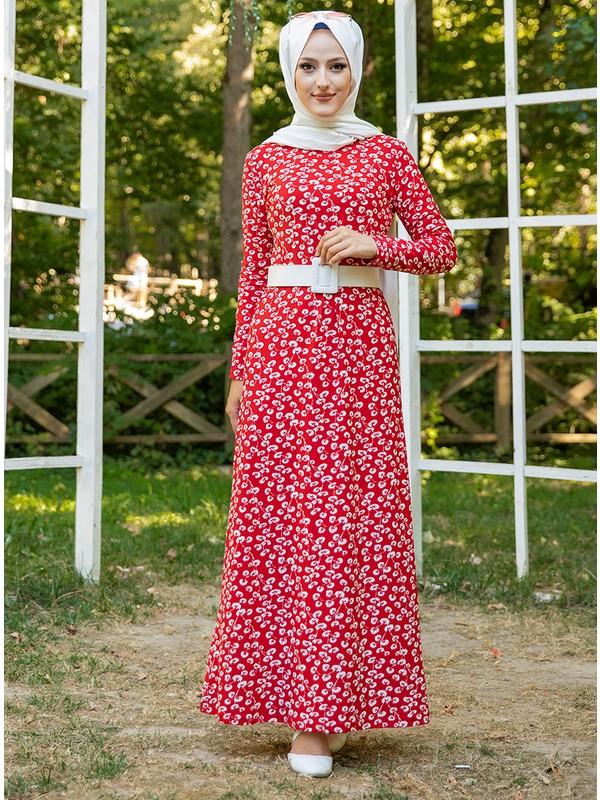 Tofisa Kadın Desenli Elbise - Kırmızı - Tofisa
