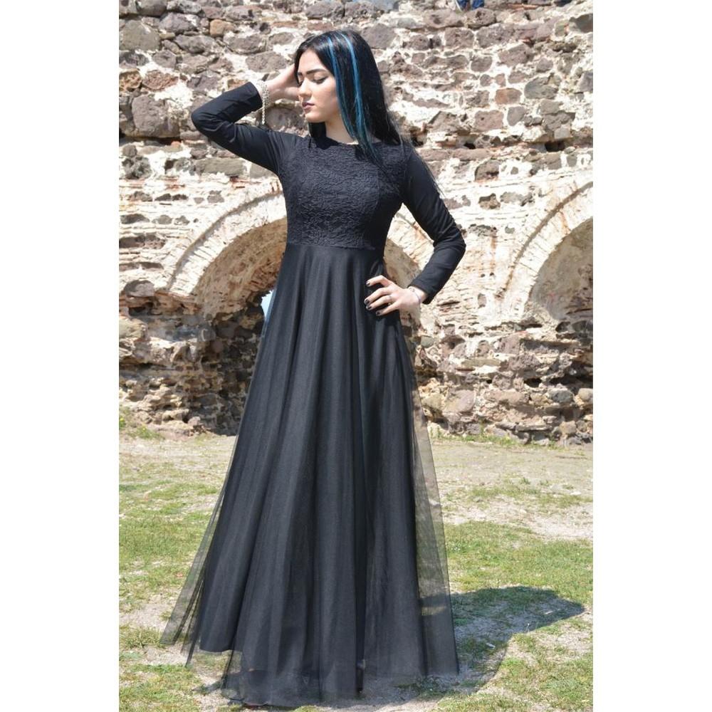 f9128f15e0813 Espenica Uzun Elbise Dantel Tül Tesettür Mezuniyet Abiye Düğün Nikah Balo Nişan  Elbise 3456