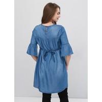 Gör&Sin Hamile Nakış Detaylı Tensel Tunik Kim.Mavi