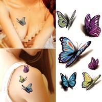 Hane14 Renkli 3 Boyutlu Kelebekler Geçici Dövme