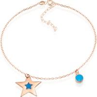 Lio Jewels 925 Ayar Altın Kaplama Gümüş Mineli Yuvarlak Ve Yıldızlı Halhal