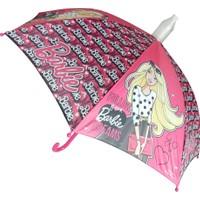 Hakan Çanta Barbie Lisanslı Pembe Çocuk Şemsiyesi 88221 (Baston Tip)