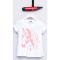 U.S. Polo Assn. Kız Çocuk Genu T-Shirt Beyaz