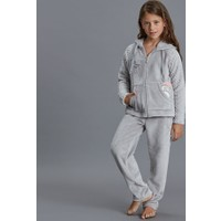 Dagi Kız Çocuk Polar Pijama Takımı Gri Melanj K0216K0130