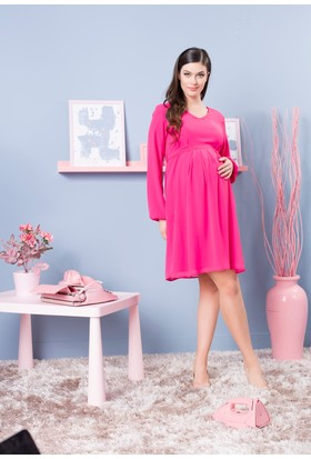 Gör&Sin Babyshower Hamile Uzun Kol Şifon Elbise Fuşya