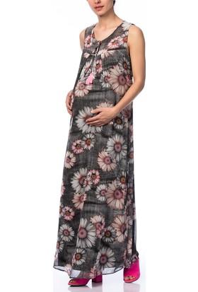 Gör&Sin Hamile Çiçek Desenli Uzun Elbise Füme