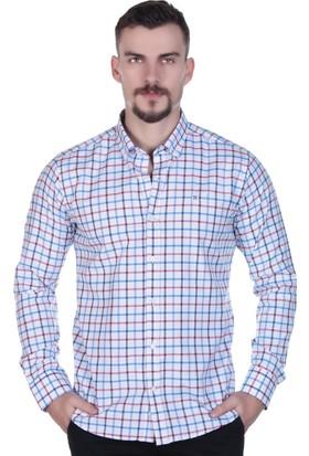 Brango 12563-2 Dar Kesim Kareli Yaka Düğmeli Turuncu Gömlek