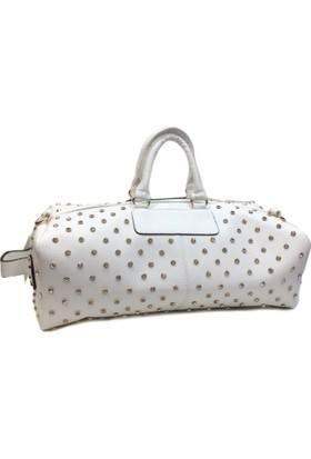 Nas Beyaz Renk Büyük Boy Taşlı Çanta Ebat 50 Cm 16 Cm 25 Cm