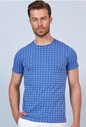 Hemington Mavi Baskılı Bisiklet Yaka Regular Fit T-Shirt