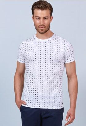 Hemington Beyaz Baskılı Bisiklet Yaka Regular Fit T-Shirt