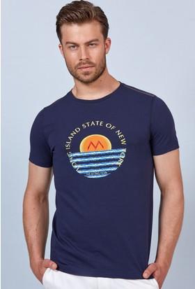 Hemington Lacivert Desenli Bisiklet Yaka Pamuk T-Shirt